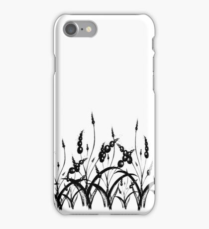 Flowers, leaves, floral border.  Black and white illustration. iPhone Case/Skin