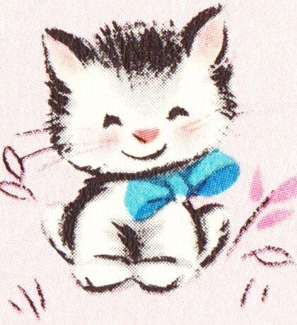 """Kitten 2"" - Vintage, Card, Ephemera, Inspired, Kitty, Cat, Blue, Bow, Baby, Pink, Cute, Sweet  Sticker"