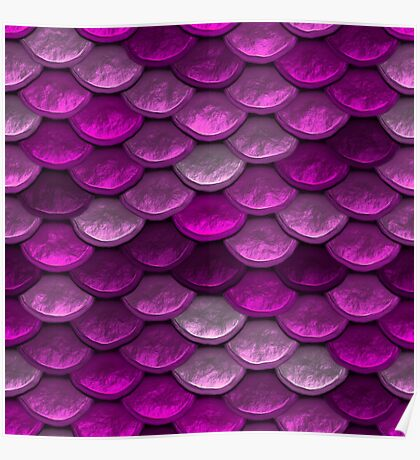 Mermaid Scales in shades of pink Poster