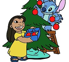 Happy Lilo and Stitch with christmas tree by LikeYou