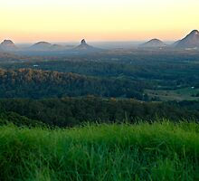 Glasshouse Mountains Sunset by J Harland