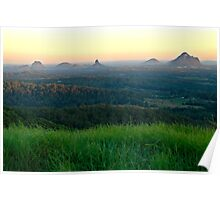 Glasshouse Mountains Sunset Poster
