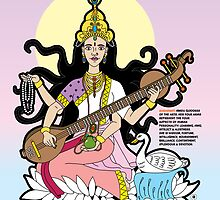 Saraswati - Hindu Goddess of The Arts by thickblackoutline