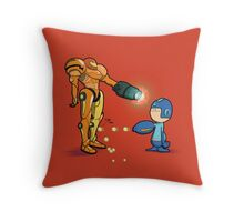 Samus Vs Mega Throw Pillow