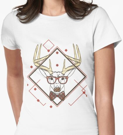 Fashion Style Deer  Womens Fitted T-Shirt