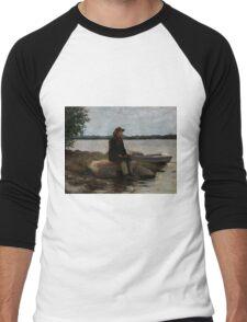 Adolf Von Becker - An Angler Ca. 1890 Men's Baseball ¾ T-Shirt