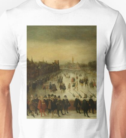 Adam Van Breen - The Vijverberg, The Hague, In Winter, With Prince Maurits And His Retinue In The Foreground, 1618 Unisex T-Shirt
