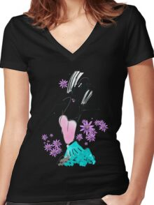 abstract fashion Women's Fitted V-Neck T-Shirt