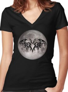 Tribal Bat with Full Moon Women's Fitted V-Neck T-Shirt