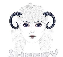 Sheep as Girl with Horns by AnnArtshock
