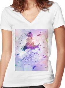 Abstract girl and raven 3 Women's Fitted V-Neck T-Shirt