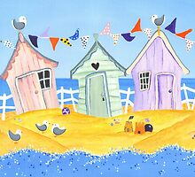 Summer Beach Huts by lilybatteson