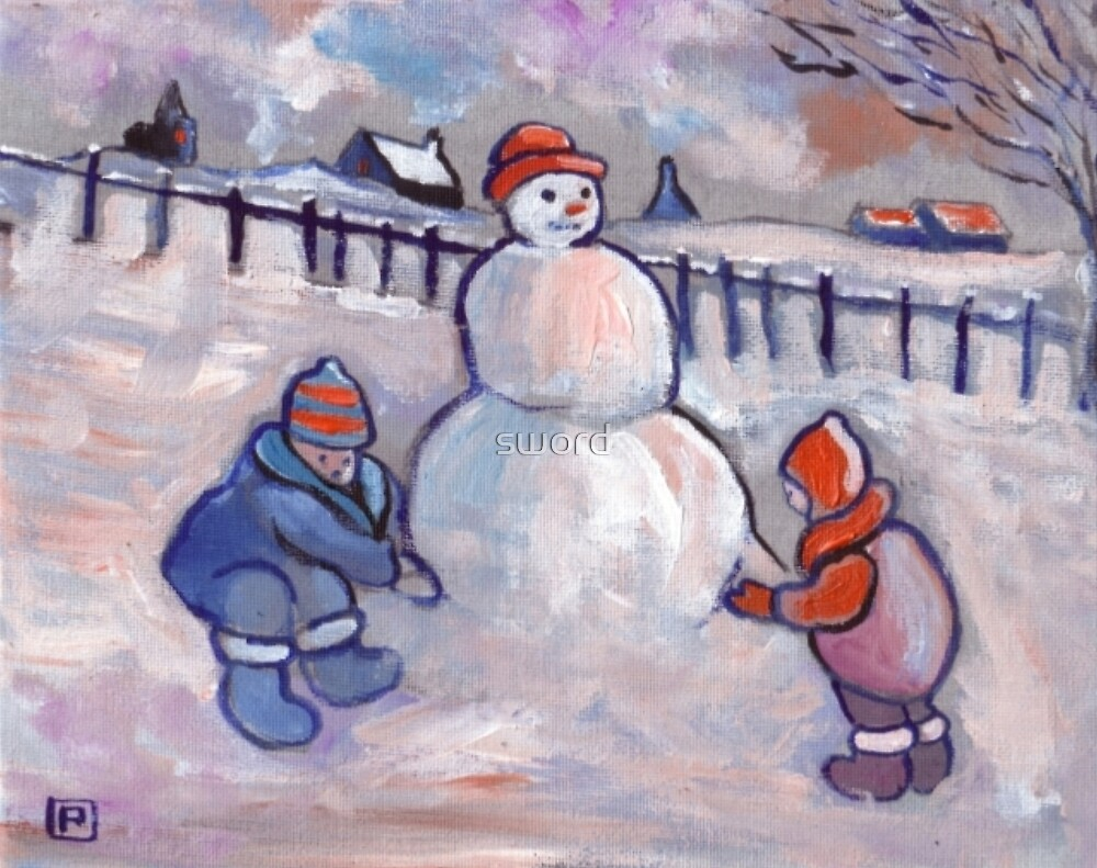 The snowman (from my original painting) by sword