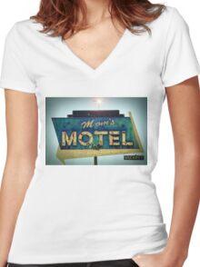 Mom's Motel T-shirt Women's Fitted V-Neck T-Shirt