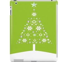 Christmas Tree Made Of Snowflakes On Lime Background iPad Case/Skin