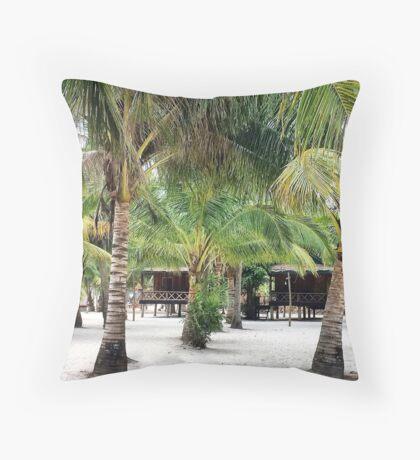 Bungalows on Palm Beach Throw Pillow