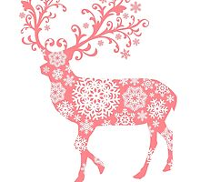 Merry Christmas, coral deer with snowflakes pattern by beakraus