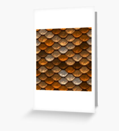 Shimmering mermaid scales in brown and copper tones Greeting Card
