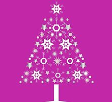 Christmas Tree Made Of Snowflakes On Pink Background by taiche