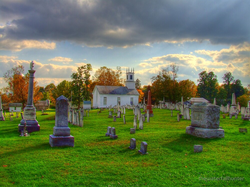 Shaftsbury Cemetary in Fall by thewaterfallhunter