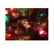 Cat in Christmas Tree Art Print