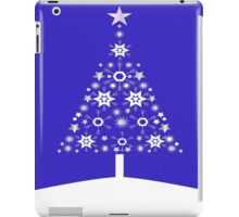 Christmas Tree Made Of Snowflakes On Purple Background iPad Case/Skin