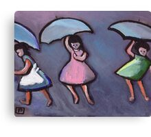 Children with brollys (from my original painting) Canvas Print