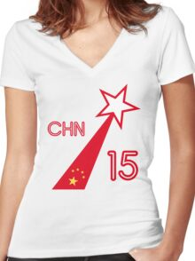 CHINA STAR Women's Fitted V-Neck T-Shirt