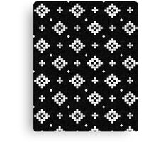 Arizona - tribal black and white native design in geometric blocks Canvas Print