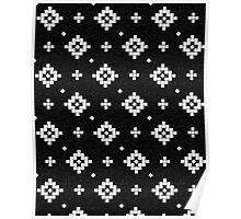Arizona - tribal black and white native design in geometric blocks Poster