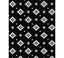 Arizona - tribal black and white native design in geometric blocks Photographic Print
