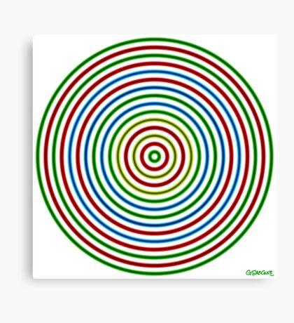 Vibrating Concentric Color Circles Canvas Print