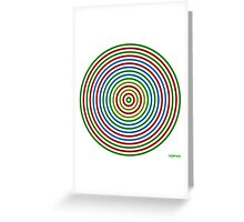 Vibrating Concentric Color Circles Greeting Card