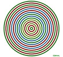 Vibrating Concentric Color Circles Photographic Print