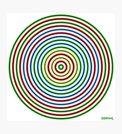Vibrating Concentric Color Circles Photographic Print