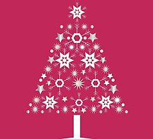 Christmas Tree Made Of Snowflakes On Red Background by taiche