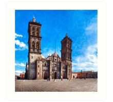 Spanish Baroque Cathedral In The Heart of Puebla Mexico Art Print