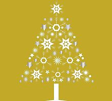 Christmas Tree Made Of Snowflakes On Gold Background by taiche