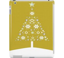 Christmas Tree Made Of Snowflakes On Gold Background iPad Case/Skin