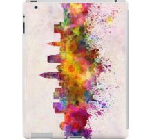 Cleveland skyline in watercolor background iPad Case/Skin