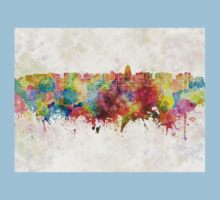 Madison skyline in watercolor background Kids Clothes