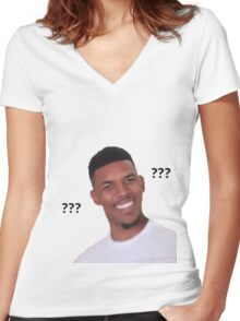 Nick Young Confused Women's Fitted V-Neck T-Shirt