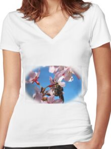 Bee On Cherry Blossom Women's Fitted V-Neck T-Shirt