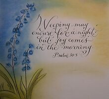Comforting verse Psalm 30 calligraphy art by Melissa Goza