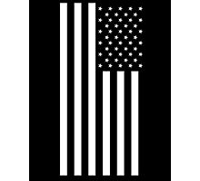 American Flag, In Mourning, America, Americana, Stars & Stripes, White on Black, PORTRAIT, USA Photographic Print