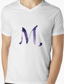 Alphabet M Mens V-Neck T-Shirt