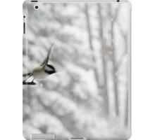 Chickadee Taking Flight in Winter iPad Case/Skin