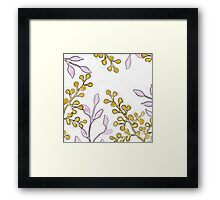 Gold Buds and Purple Leaves Print Framed Print