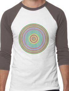 Vibrating Concentric Color Circles Men's Baseball ¾ T-Shirt