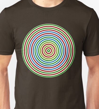 Vibrating Concentric Color Circles Unisex T-Shirt